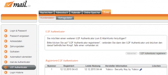 U2F Authenticator registrieren
